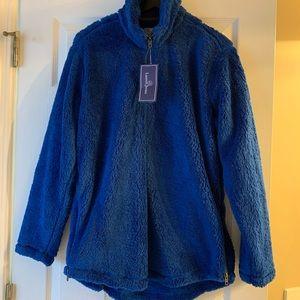 NWT Lauren James fuzzy blue pullover